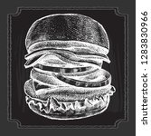 delicious burger with onion... | Shutterstock .eps vector #1283830966