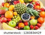 healthy fruit background filled ... | Shutterstock . vector #1283836429