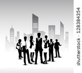 silhouette of business persons... | Shutterstock .eps vector #128384354