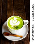 hot matcha green tea latte with ... | Shutterstock . vector #1283852203