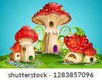 magic mushroom group. fairy... | Shutterstock .eps vector #1283857096