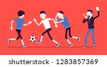 football referee holds up... | Shutterstock .eps vector #1283857369
