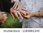 elder couples hands put on the...   Shutterstock . vector #1283881243