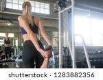 fitness woman lifting weights... | Shutterstock . vector #1283882356