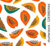 hand drawn papaya. paper cut... | Shutterstock .eps vector #1283883466