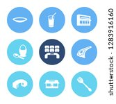 kitchen icon set and food with...
