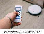 closeup remote control of... | Shutterstock . vector #1283919166