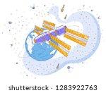 space station orbiting around... | Shutterstock .eps vector #1283922763