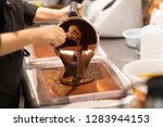 production  cooking and people... | Shutterstock . vector #1283944153