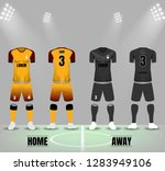 soccer uniforms in yellow and... | Shutterstock .eps vector #1283949106