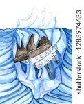 huge iceberg of blue color...   Shutterstock . vector #1283974633