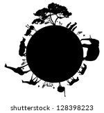Stock vector silhouette of wildlife animals in africa walking around the world vector 128398223
