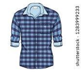 vector cartoon blue checkered... | Shutterstock .eps vector #1283999233