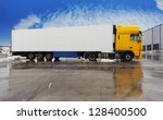 yellow truck standing  on a