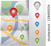 city map with gps map pointers... | Shutterstock . vector #128400524