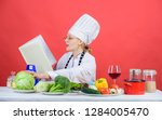 female in hat and apron knows...   Shutterstock . vector #1284005470