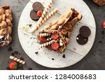 delicious bubble waffle on...   Shutterstock . vector #1284008683
