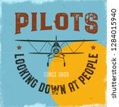 vintage airplane poster. pilots ... | Shutterstock .eps vector #1284015940