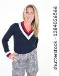 stunning smiling blond woman... | Shutterstock . vector #1284026566