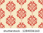 seamless red floral wallpaper... | Shutterstock .eps vector #1284036163