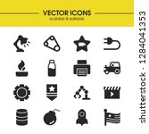industry icons set with tractor ...