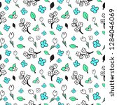 floral seamless pattern drawn...   Shutterstock .eps vector #1284046069