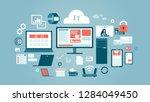 pc monitor tablet phone... | Shutterstock .eps vector #1284049450