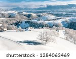 heavy snowfall in romania in... | Shutterstock . vector #1284063469