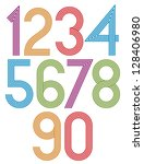 retro stripes funky numbers set ... | Shutterstock .eps vector #128406980