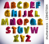 3D font, big colorful letters standing, vector eps 8. | Shutterstock vector #128407004