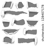collection of gray torn paper.... | Shutterstock .eps vector #128407178