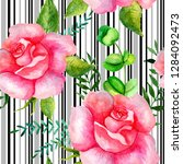 seamless watercolor pattern of... | Shutterstock . vector #1284092473