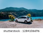 vacation travel with car... | Shutterstock . vector #1284106696