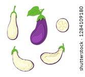 set of paper cut purple... | Shutterstock .eps vector #1284109180