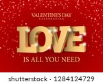 inscription love in gold 3d...   Shutterstock .eps vector #1284124729
