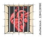 heart in jail drawn in tattoo... | Shutterstock .eps vector #1284128980