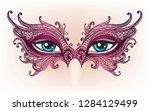 female eyes in purple lace mask.... | Shutterstock .eps vector #1284129499