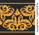 watercolor golden baroque... | Shutterstock . vector #1284136576