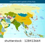 countries and capitals of the... | Shutterstock .eps vector #128413664