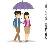 romantic couple use umbrella...   Shutterstock .eps vector #1284140503