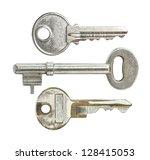 Door Keys Isolated On White...