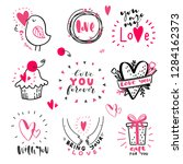 set of love hand drawn quotes... | Shutterstock .eps vector #1284162373