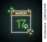 patrick day neon calendar. 17...   Shutterstock .eps vector #1284162439