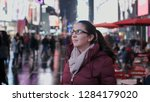 young woman at new york times...   Shutterstock . vector #1284179020