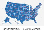 retro usa map poster in trendy... | Shutterstock .eps vector #1284193906