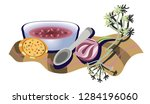 borsch in a plate served with a ... | Shutterstock .eps vector #1284196060