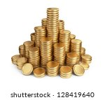 Big pile of coins. 3D Icon isolated on white background - stock photo