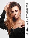 beauty fashion portrait of... | Shutterstock . vector #1284204910