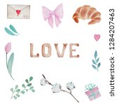 watercolor illustration set of... | Shutterstock . vector #1284207463