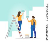home renovation. man and woman... | Shutterstock .eps vector #1284210163